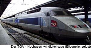 Mit dem Zug TGV nach Paris Bahnhof