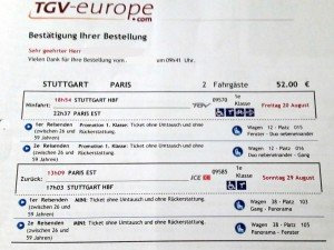 TGV Fahrschein Ticket