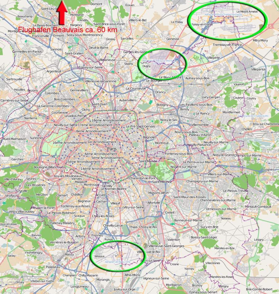 Flughäfen Deutschland Karte.Flughäfen In Paris Transfer Zentrum Karte Reiseführer 2018