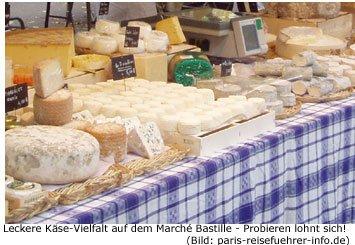 Marche Bastille Paris Markt Flohmarkt Shopping Einkaufen Käse Spezialität