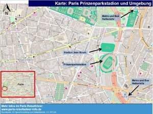 Prinzenparkstadion parce de princes Karte Plant